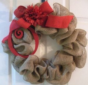 burlap ribbon wire frame wreath red ribbon flowers christmas picks ornaments or whatever accents you want - Christmas Burlap Wreaths