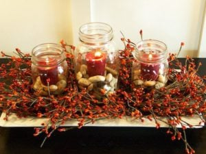 Quick and Easy Fall Candle Centerpiece with fall berries and twigs