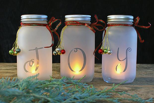 diy mason jar holiday luminaria 9 75 Mason Jar DIY Christmas Decorations