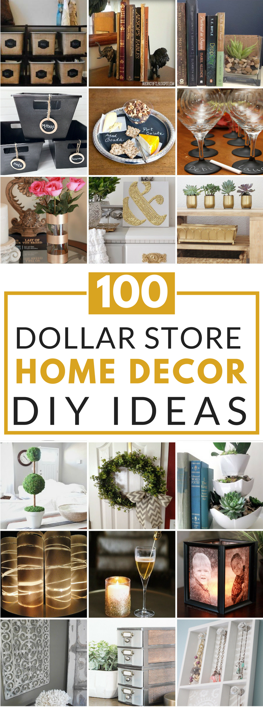 100 dollar store diy home decor ideas prudent penny pincher Home decor hacks pinterest
