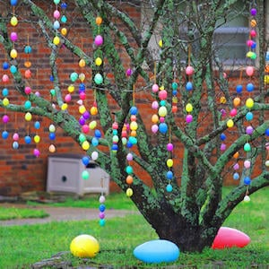 Easter Egg Tree Plastic Eggs With Holes Ribbon
