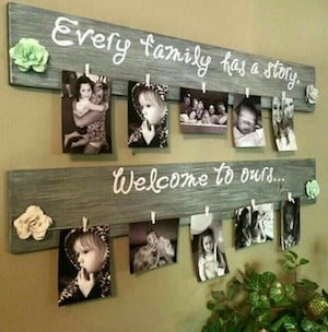 Pallet Photo Holder Source Unknown Mini Clothespins White Paint Marker Or Stencils Fabric For Flowers Photos