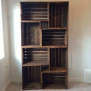 DIY Crate Bookshelf Wood Crates + Sandpaper + Stain + L Bracket