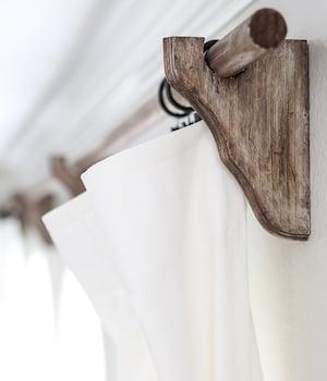 DIY Farmhouse Wood Curtain Rods