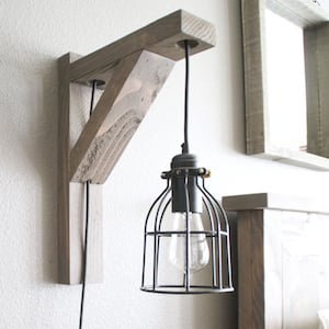 diy corbel sconce light pendant light light cage 24 stud wood chisel wood stain - Diy Rustic Home Decor Ideas