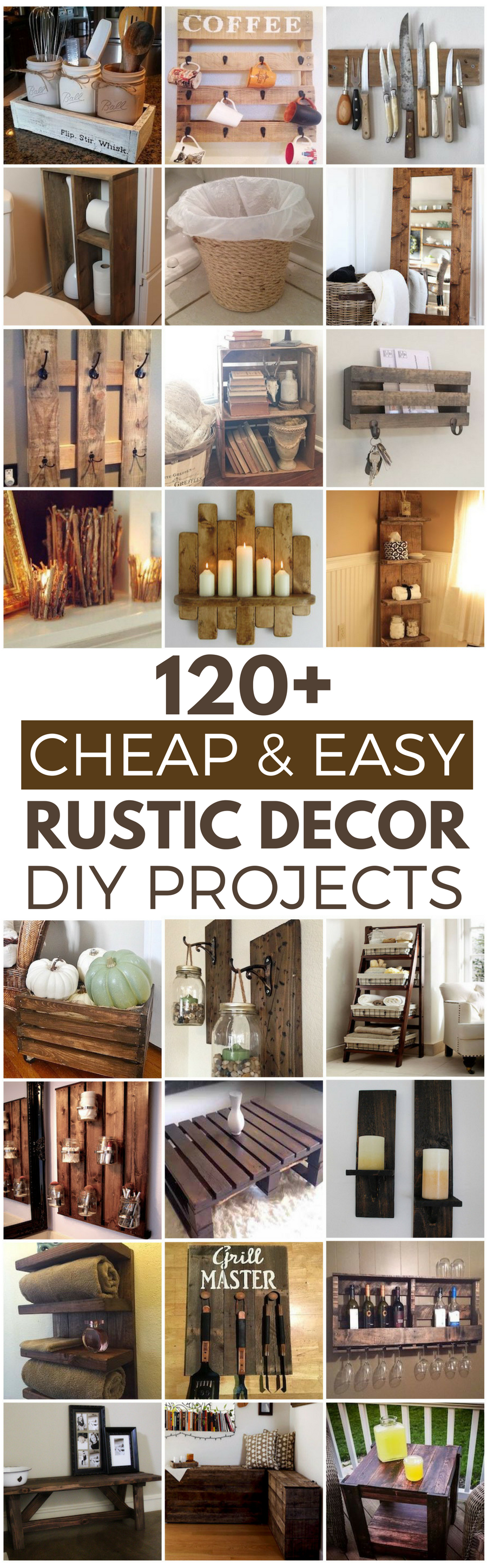 120 cheap and easy diy rustic home decor ideas prudent penny pincher - Ideas home decor ...
