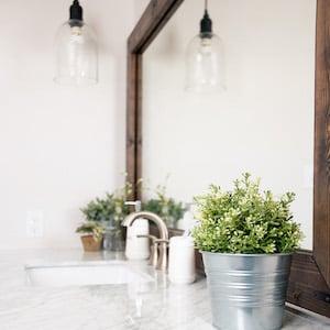 Framed Wood Bathroom Mirror with boxwood plant