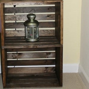 $15 Rustic Nightstand 2 Crates + Stain Or Paint + Wood Glue + Screws