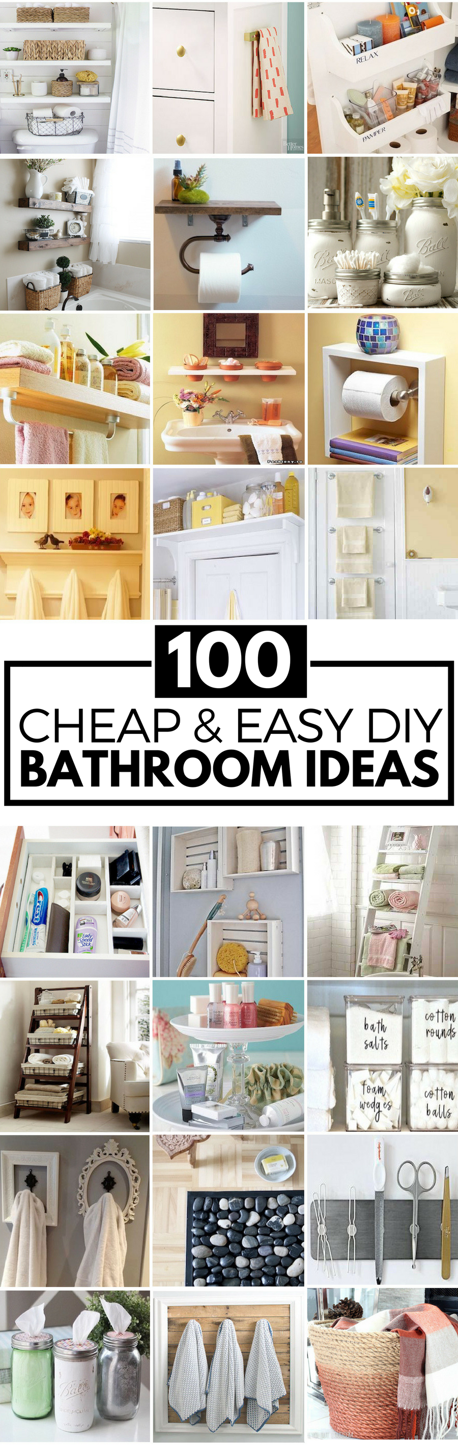 100 cheap and easy diy bathroom ideas prudent penny pincher for Bathroom designs diy