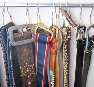 Belt Organizer using tension rod and shower curtain hooks