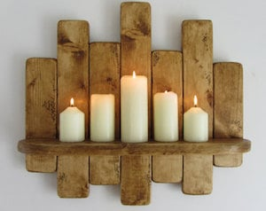 Rustic Candle Holder Wall Shelf