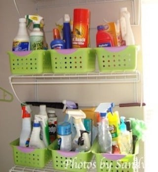 Cleaning Supply Organization Slotted Plastic Storage Baskets