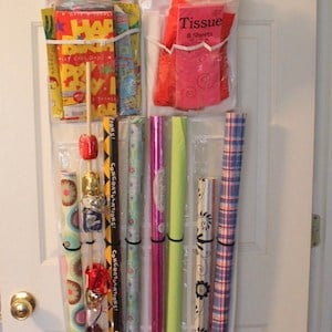 Gift Wrap Storage fabric + over the door organizer & 150 DIY Dollar Store Organization and Storage Ideas - Prudent Penny ...