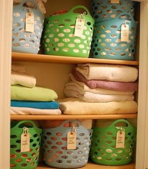 Linen Closet Makeoverusing baskets