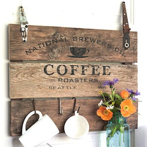 Hanging Coffee Plank Sign