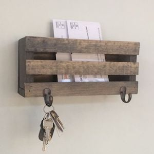 Wooden Farmhouse Mail Holder Mounted on Wall