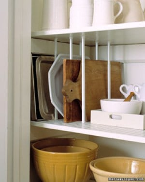 Pantry cabinet Organizer(using small tension rods)