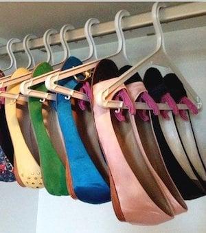 hanging Shoe organization idea using coat hangers and plastic clips