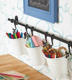 Beautiful DIY Storage Pails For Supplies Small Pails + Hook Metal Rack