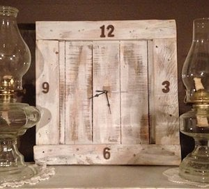 White Washed Pallet Wall Clock