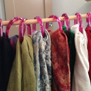 Hanging Scarf Organizer made from dowel and shower curtain rings