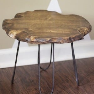 rustic furniture diy. Small Rustic Stool Wood Round + Copper Soft Refrigeration Coil Pipe Cutter Steel Hanger Tape Black Spray Paint Stain Furniture Diy