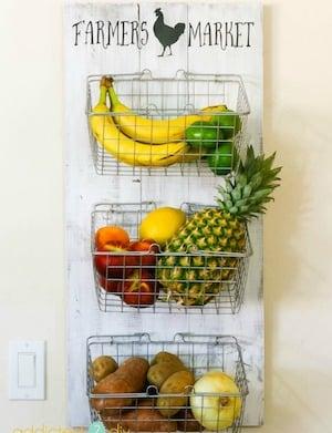 DIY Farmhouse Produce Rack Hanging on the Wall