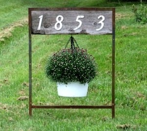 Farmhouse House Number Sign Hanging Planter