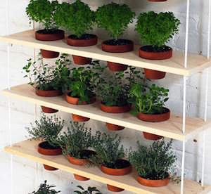 hanging herb garden boards rope terra cotta pots zip ties drill - Diy Herb Garden Ideas