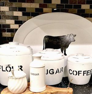 White Farmhouse Thrift Store Kitchen Canisters with stenciled letters