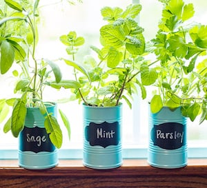 windowsill tin can herb garden tin cans spray paint chalkboard labels chalk marker - Diy Herb Garden Ideas