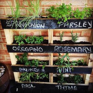 pallet vertical diy herb garden hanging planter pallet extra planks chalkboard paint chalk - Diy Herb Garden Ideas