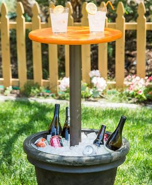 Diy Outdoor Entertainment Table Planter Pvc Pipe End Cap Round Plywood Concrete Cement Paint