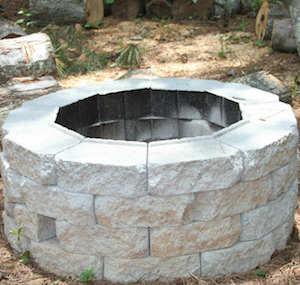 concrete retaining wall brick fire pit