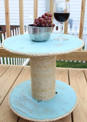 Nautical Side Table Electrical Wire Spool + Paint + Wood Stain + Casters +  Scrap Wood + Liquid Nails