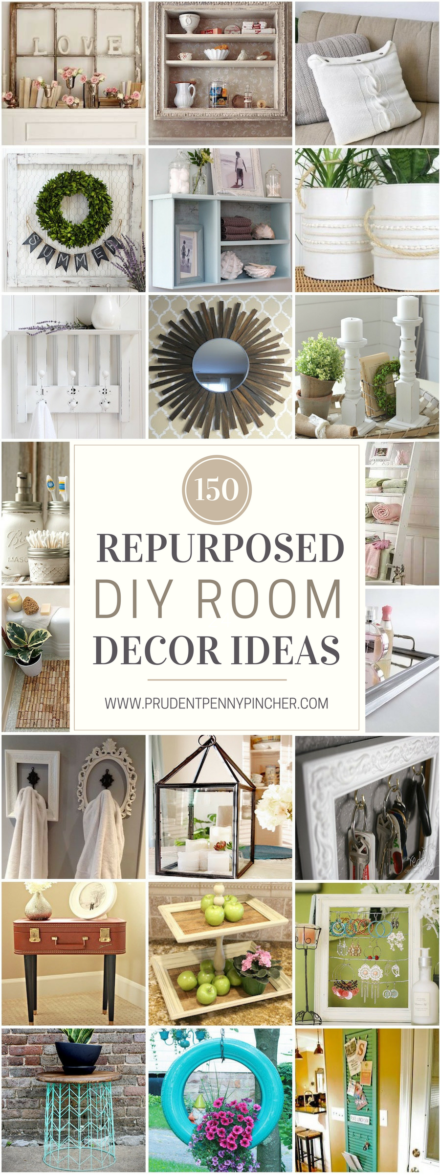 150 Repurposed DIY Room Decor Ideas - Prudent Penny Pincher