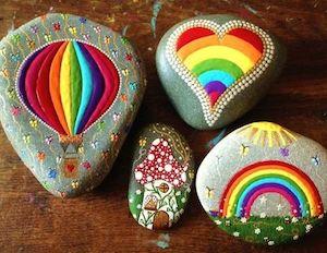 Rainbow, Balloon and Heart Rocks