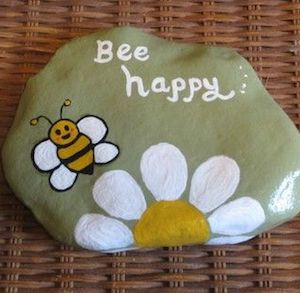 Be Happy Word Rock with a bee and a flower at the bottom