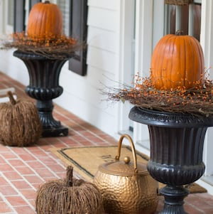 Pumpkin Topiary with grapevine and fall berries