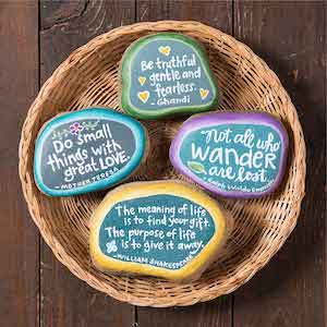 Various Quote Painted Rocks