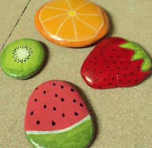 rocks painted like fruit