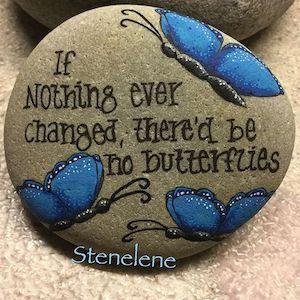 Change word Rock with blue butterflies