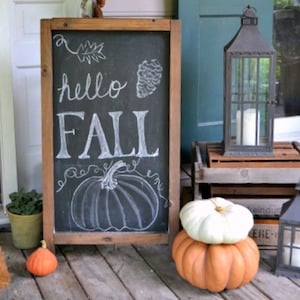 hello fall chalkboard sign for front porch