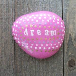pink dream word rock with dots