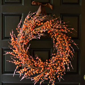 Easy DIY Fall Berry Wreath berry stems + grapevine wreath + wire cutter +  brown ribbon