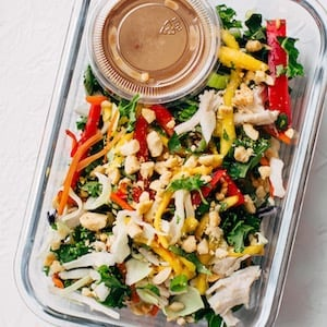 Thai Chicken Salad with Skinny Peanut Dressing meal prep recipe