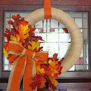 DIY Burlap Fall Wreath with maple leaves and orange bow