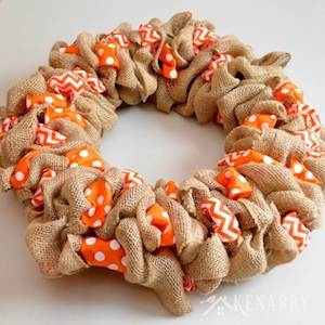 Burlap Halloween Wreath With Accent Ribbon