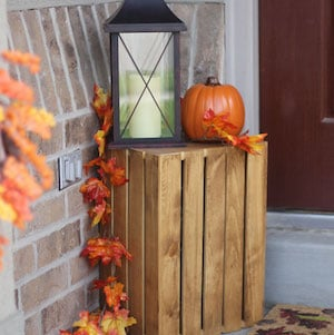 Fall Crate with Lantern and Pumpkins
