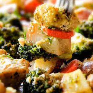Sheet Pan Parmesan Pesto Chicken, Broccoli and Carrots